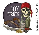 pirate emblem with skull ... | Shutterstock .eps vector #596668943