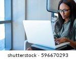 attractive young businesswoman...   Shutterstock . vector #596670293