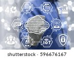 digital cloud industry 4.0... | Shutterstock . vector #596676167