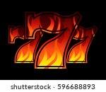triple lucky blazing sevens...   Shutterstock .eps vector #596688893