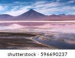 colorada lagoon with flamingos... | Shutterstock . vector #596690237