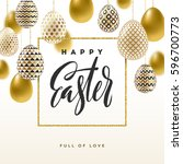 easter vector illustration with ... | Shutterstock .eps vector #596700773