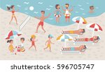 vector cartoon funny... | Shutterstock .eps vector #596705747