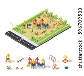 child playground isometric... | Shutterstock .eps vector #596709533