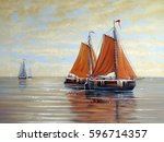 ships  boats  fisherman oil... | Shutterstock . vector #596714357
