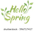 hello spring lettering with... | Shutterstock . vector #596717417
