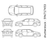line drawing of car white... | Shutterstock .eps vector #596717453