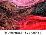 wig texture. synthetic hair... | Shutterstock . vector #596725457
