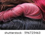 wig texture. synthetic hair...   Shutterstock . vector #596725463