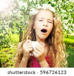 sneezing girl. child with a... | Shutterstock . vector #596726123
