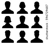 Male and female head silhouettes avatar, profile vector icons, people portraits | Shutterstock vector #596729687