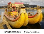 traditional reed boat as... | Shutterstock . vector #596738813