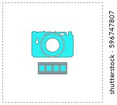 camera outline vector icon with ...