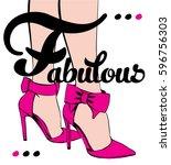 woman in fabulous high heels...   Shutterstock .eps vector #596756303