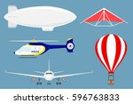 air crafts  airship  helicopter ... | Shutterstock .eps vector #596763833