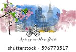 spring in new york. watercolor... | Shutterstock .eps vector #596773517