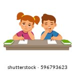bored kids at school lesson ... | Shutterstock .eps vector #596793623