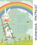 funny easter bunnies with...   Shutterstock .eps vector #596796167
