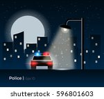 police car standing under the... | Shutterstock .eps vector #596801603