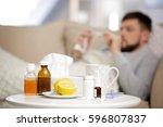 medicines  cup of hot tea and... | Shutterstock . vector #596807837