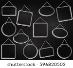 chalkboard style hanging frames ... | Shutterstock .eps vector #596820503