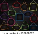 chalkboard style hanging frames ... | Shutterstock .eps vector #596820623