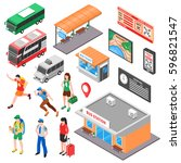 bus terminal isometric set with ... | Shutterstock .eps vector #596821547