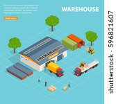 warehouse top view isometric... | Shutterstock .eps vector #596821607