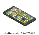 town buildings isometric... | Shutterstock .eps vector #596821673
