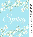 card with spring flowers on... | Shutterstock . vector #596835533