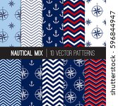 nautical navy  blue  red and... | Shutterstock .eps vector #596844947