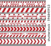 danger tapes set. red and white ... | Shutterstock .eps vector #596845913