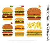 hamburger  cheeseburger ... | Shutterstock .eps vector #596856833