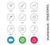 scissors  hammer and gloves... | Shutterstock . vector #596870993