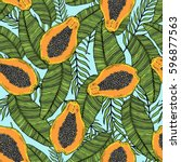 pattern of cut papaya with... | Shutterstock .eps vector #596877563