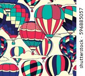 colorful retro pop hot air... | Shutterstock .eps vector #596885057
