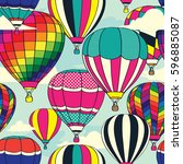 colorful retro pop hot air... | Shutterstock .eps vector #596885087