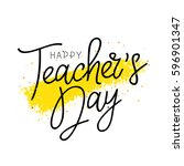 happy teacher's day.... | Shutterstock .eps vector #596901347