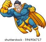 strong cartoon superhero.... | Shutterstock .eps vector #596906717