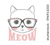 Stock vector cute cat hand drawn portrait little kitty with glasses 596913203