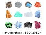 collectionof semi precious... | Shutterstock .eps vector #596927537