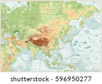 asia physical map with rivers ... | Shutterstock .eps vector #596950277