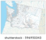 washington physical state map... | Shutterstock .eps vector #596950343