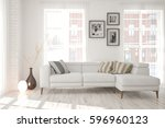 white room with sofa and urban  ... | Shutterstock . vector #596960123