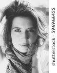 black and white portrait | Shutterstock . vector #596966423