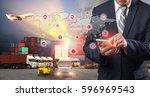 businessman is pressing button... | Shutterstock . vector #596969543
