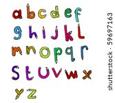 alphabet set drawing | Shutterstock .eps vector #59697163
