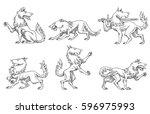 vector set of six images of... | Shutterstock .eps vector #596975993