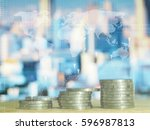 stack coins with graphic icon ... | Shutterstock . vector #596987813