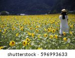 sunflower field girl | Shutterstock . vector #596993633